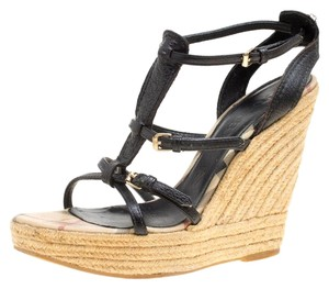 Burberry Leather Espadrille Wedge Rubber Black Sandals