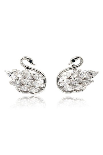 Preload https://img-static.tradesy.com/item/25588896/silver-inlaid-crystal-swan-earrings-0-0-540-540.jpg
