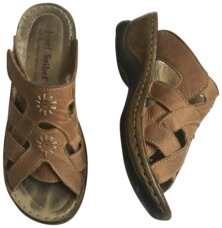 reputable site nice cheap fashion style Josef Seibel Brown Wedge Mule Slip On Leather Tan Sandals Size EU 38  (Approx. US 8) Regular (M, B) 71% off retail
