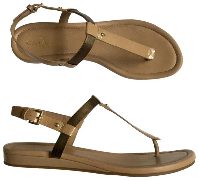 Item - Nude Strappy Gold Patent Leather Sandals Size US 7 Regular (M, B)