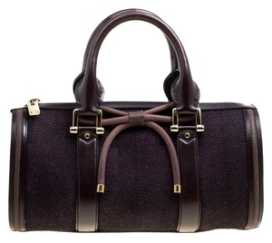 Burberry Canvas Leather Satchel in Purple