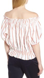 Lewit Boho Work Summer Puff Striped Top Red Multi