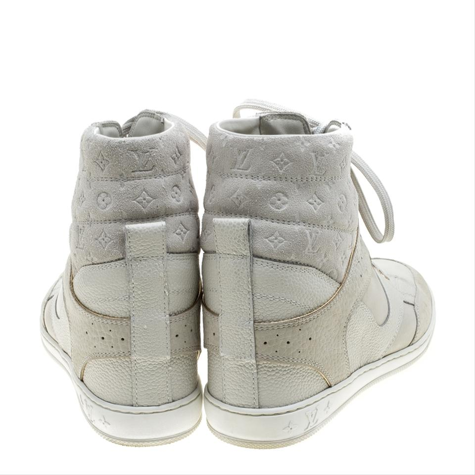 2495183a7b5 Louis Vuitton White Off Monogram Suede and Leather Cliff Top Sneakers Flats  Size EU 37 (Approx. US 7) Regular (M, B) 48% off retail