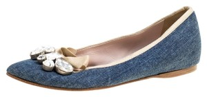 Miu Miu Crystal Denim Embellished Pointed Toe Leather Blue Flats