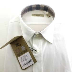 Burberry White Brit Collection Trim Fit Blue Men Shirt