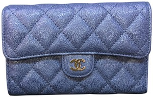 Chanel Brand New Chanel blue iridescent leather medium wallet