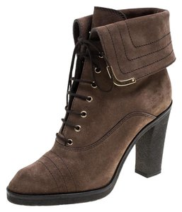 Louis Vuitton Suede Leather Rubber Brown Boots