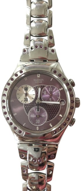 Swatch Silver and Purple Crystal Jewelry Watch Swatch Silver and Purple Crystal Jewelry Watch Image 1