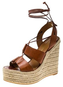Saint Laurent Leather Lace Espadrille Wedge Rubber Brown Sandals