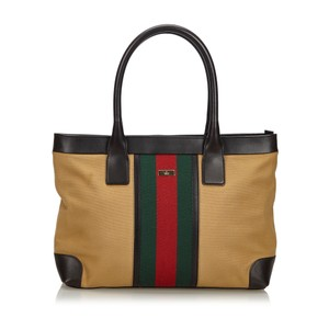 28cce1621 Gucci 9fguto006 Vintage Canvas Leather Tote in Brown