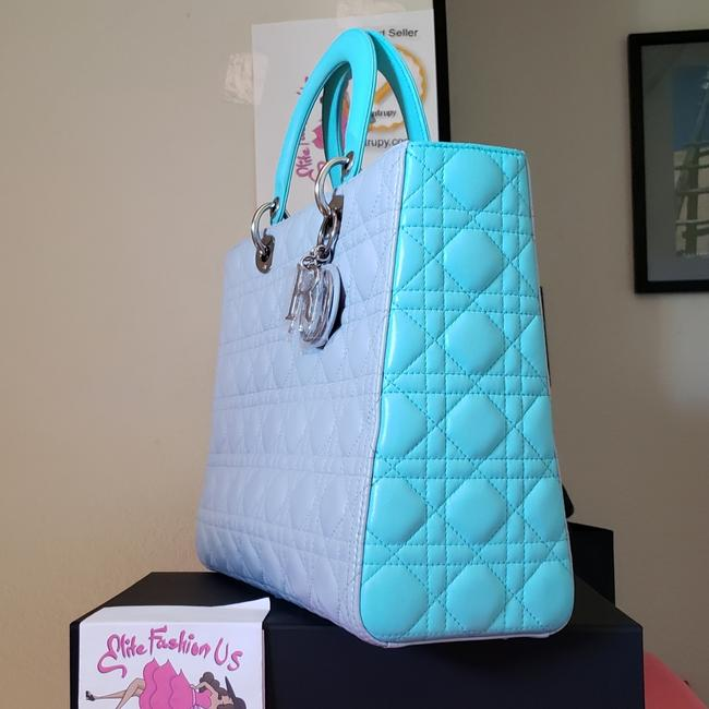 Item - Lady Lambskin Large Grey Teal Patent Leather Tote