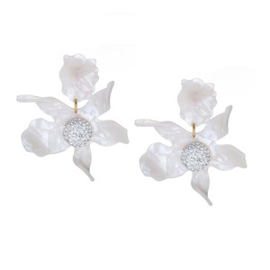 Lele Sadoughi Ivory New Mother Of Pearl Crystal Orchid Lily Earrings