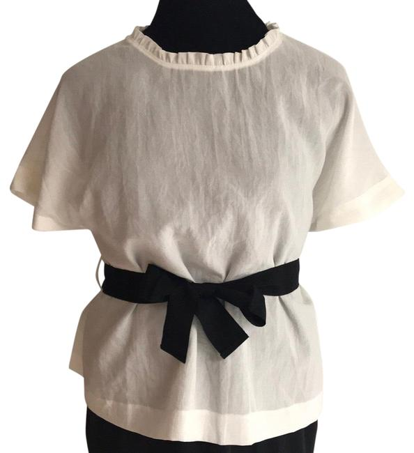 Item - White/Black Crepe Blouse Size 10 (M)