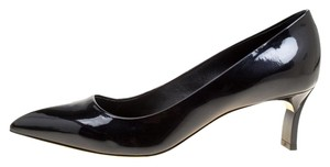 Casadei Patent Leather Pointed Toe Leather Black Pumps