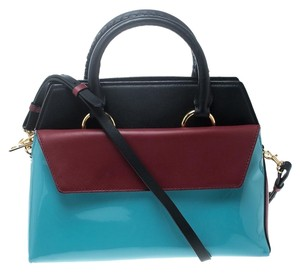 Diane von Furstenberg Leather Patent Leather Front Flap Satchel in Multicolor