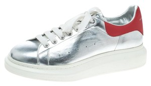 Alexander McQueen Leather Silver/Red Flats
