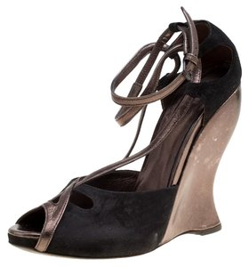 Bottega Veneta Suede Metallic Black Sandals