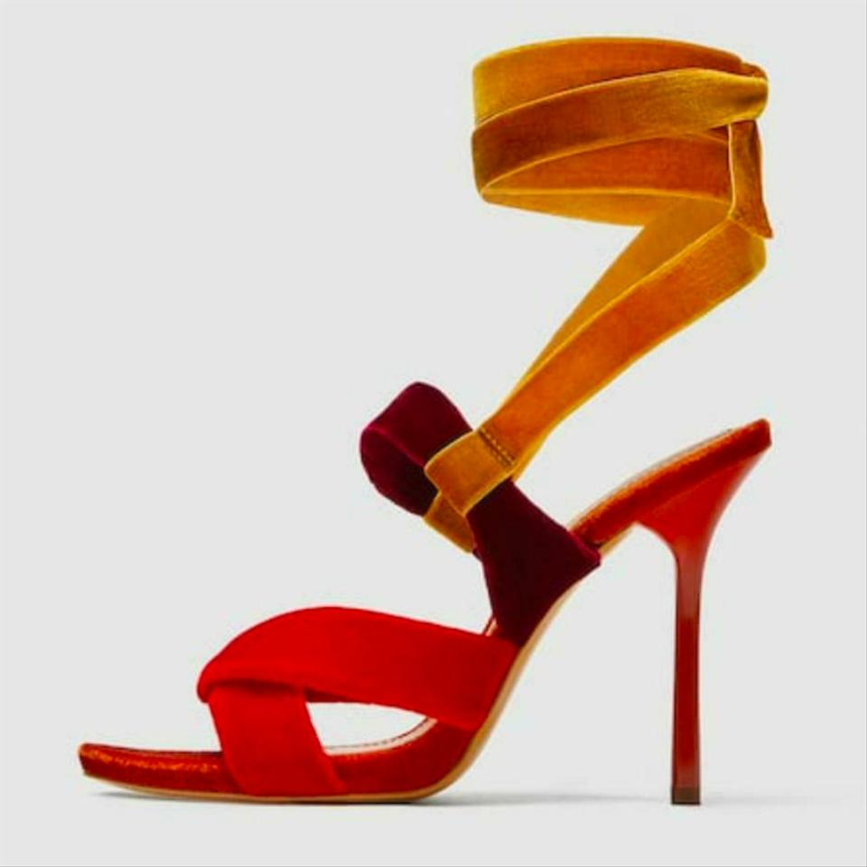2018 shoes sale online 50% off Zara Multi-color Printed Lips High Heel Strappy Sandals Size US ...