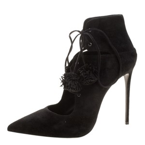 Le Silla Suede Pointed Toe Lace Black Boots