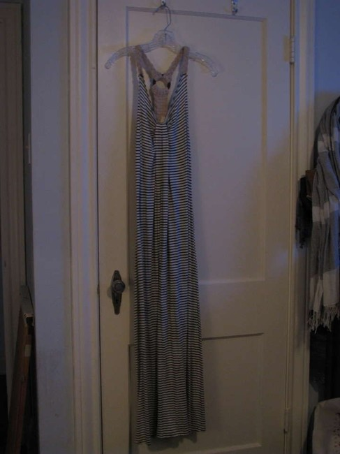 Off White and Navy Stripes Maxi Dress by Chelsea & Violet