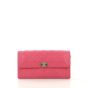 Chanel Boy Flap Lambskin Wristlet in pink