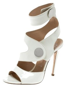 Versace Leather Peep Toe Ankle Strap White Sandals