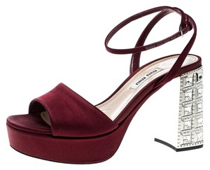 Miu Miu Satin Crystal Embellished Ankle Strap Burgundy Sandals