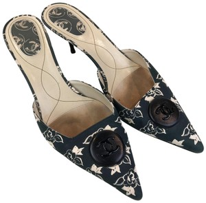 Chanel Floral Canvas Green Mules