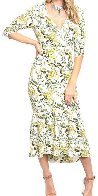Item - White/Yellow/Green 3/4 Sleeve Wrap Top Floral Midi Mermaid Long Night Out Dress Size 12 (L)