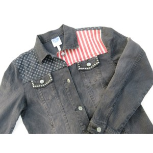 Diane Gilman Gray Red White Blue Womens Jean Jacket