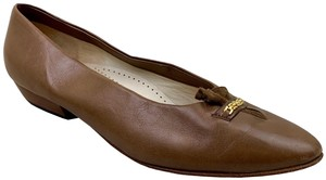 Bally Brown Leather Vintage Round Toe Flats