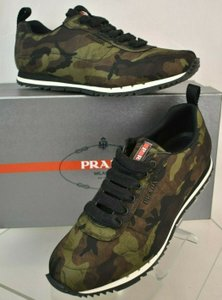 Prada Green Camouflage Nylon Lettering Logo Lace Up Sneakers 7.5 Us 8.5 Shoes