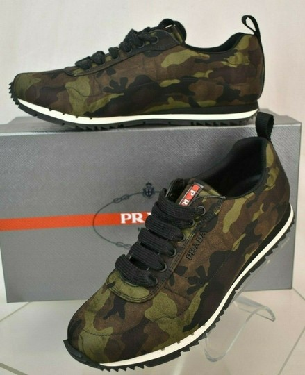 Prada Green Camouflage Nylon Lettering Logo Lace Up Sneakers 7.5 Us 8.5 Shoes Image 1