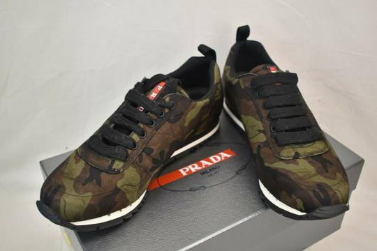Prada Green Camouflage Nylon Lettering Logo Lace Up Sneakers 7.5 Us 8.5 Shoes Image 2
