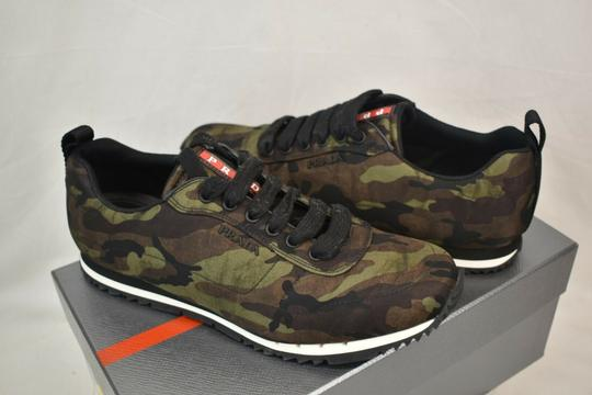 Prada Green Camouflage Nylon Lettering Logo Lace Up Sneakers 7.5 Us 8.5 Shoes Image 3