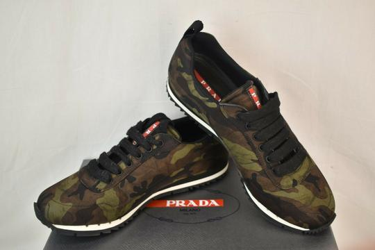 Prada Green Camouflage Nylon Lettering Logo Lace Up Sneakers 7.5 Us 8.5 Shoes Image 4