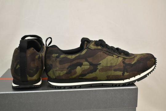 Prada Green Camouflage Nylon Lettering Logo Lace Up Sneakers 7.5 Us 8.5 Shoes Image 5