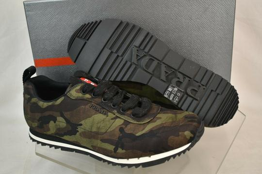 Prada Green Camouflage Nylon Lettering Logo Lace Up Sneakers 7.5 Us 8.5 Shoes Image 6