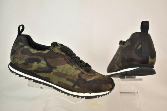 Prada Green Camouflage Nylon Lettering Logo Lace Up Sneakers 7.5 Us 8.5 Shoes Image 7