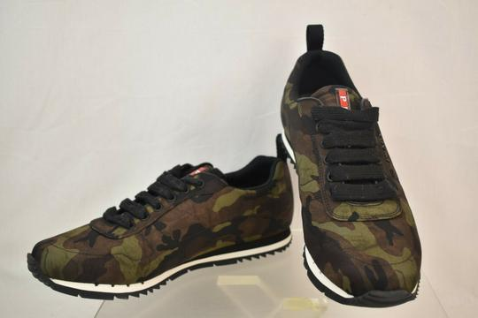 Prada Green Camouflage Nylon Lettering Logo Lace Up Sneakers 7.5 Us 8.5 Shoes Image 8