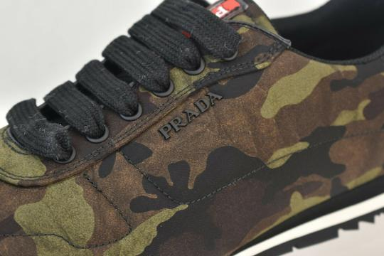 Prada Green Camouflage Nylon Lettering Logo Lace Up Sneakers 7.5 Us 8.5 Shoes Image 9