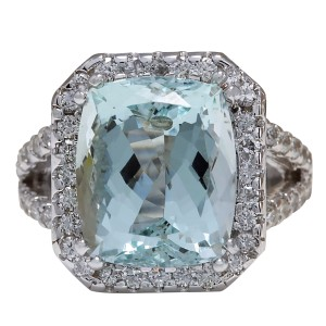 Fashion Strada 9.50ctw Natural Aquamarine and Diamond In 14k Solid White Gold Ring