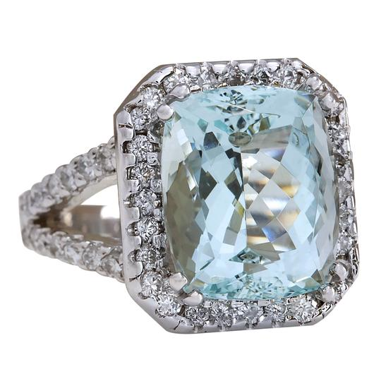 Fashion Strada 9.50ctw Natural Aquamarine and Diamond In 14k Solid White Gold Ring Image 1