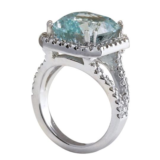 Fashion Strada 9.50ctw Natural Aquamarine and Diamond In 14k Solid White Gold Ring Image 2