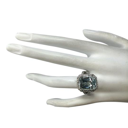 Fashion Strada 9.50ctw Natural Aquamarine and Diamond In 14k Solid White Gold Ring Image 3