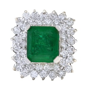 Fashion Strada 4.08ctw Natural Emerald and Diamond In 14k White Gold Ring