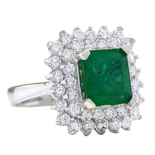 Fashion Strada 4.08ctw Natural Emerald and Diamond In 14k White Gold Ring Image 1