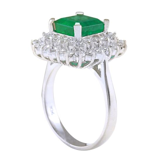 Fashion Strada 4.08ctw Natural Emerald and Diamond In 14k White Gold Ring Image 2