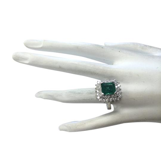 Fashion Strada 4.08ctw Natural Emerald and Diamond In 14k White Gold Ring Image 3