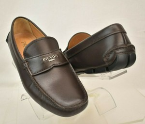 Prada Brown Leather Lettering Logo Driving Penny Loafers 6 Us 7 Shoes